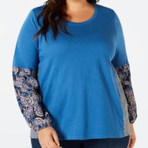 Plus Size Flattering Paisley Print Light Sweater